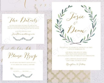 Personalised Printable Wedding Invitation Set; Invite, RSVP, Details Card, Josie Collection - WC61