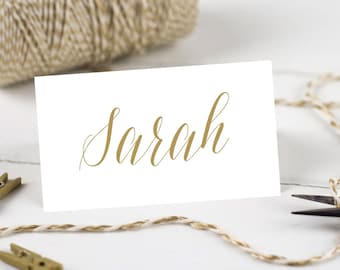 Printable Wedding Place Cards, Personalised Name Cards - Gold Script Collection