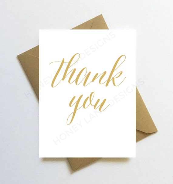 instant download printable thank you card gold script pdf