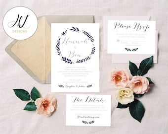 Personalised Printable Wedding Invitation Set; Invite, RSVP, Details Card, Hannah Collection - WCA61