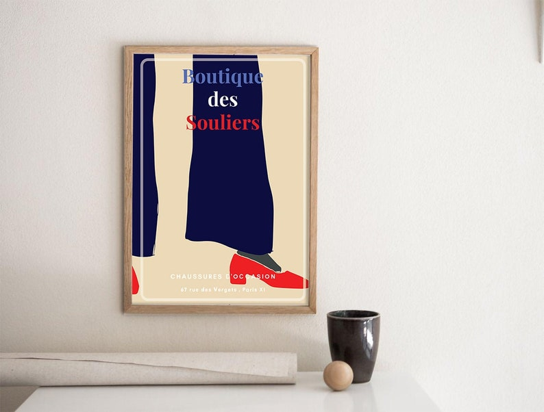 Vintage French Shoes Shop Advertising Paris Ad Digital image 1
