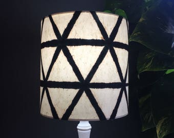 Designer lamp shade etsy drum lampshade geometric black and cream designer paper shade aloadofball Images