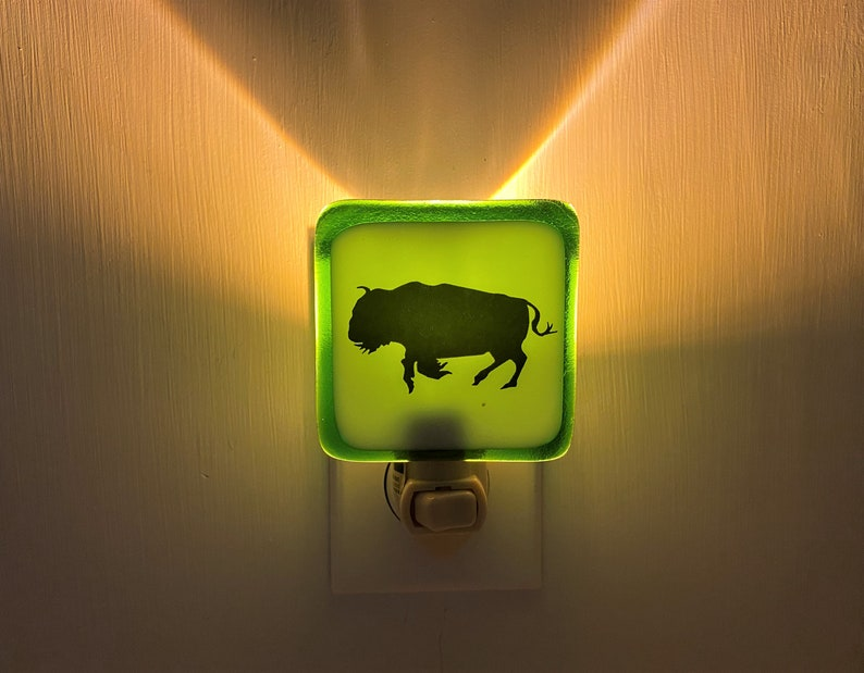 nursery Western wildlife nature house warming Buffalo Bison Running Night light wall plug in beautiful all occasion gift.