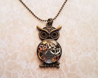 Steampunk owl watch gears and resin pendant