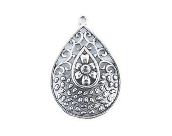 x 4 pendant drop silver 37x34mm (69D)