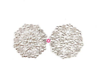 x 10 print connector silver plated round filigree 35mm (60 d)