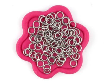 x200 Open Rings 5mm silver stainless steel (36E)