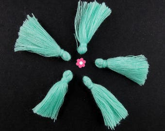 x 10 Mini green Pompom clear 25mm (304D)