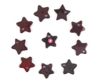 x 10 charm star Pearl rouge12mm (191(d))