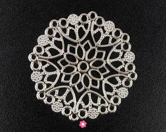 x 6 print connector silver plated round filigree (52D) 50mm