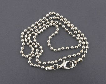 Ball chain necklace silver 46cm (11 (A) lobster clasp