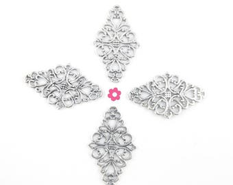 x 4 connector engraving flowers silver 41mm x 25mm (30 d)