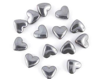 10 beads hematite gunmetal 9x8mm (03 c) heart x