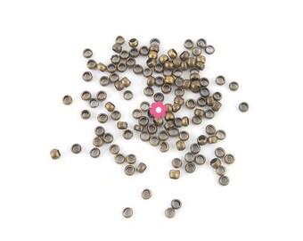 x 200 crimps bronze 2.5 mm (09 c)