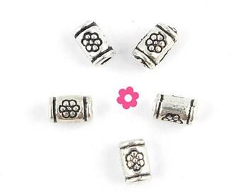 x 50 (100) 3x5mm silver tube bead