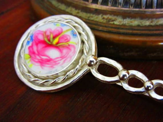 Basket of Rose Blossoms Brooch; Handmade Broken China Jewelry; Vintage Sterling Silver; Birthday Valentines Day Anniversary  Graduation