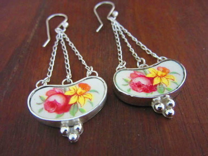 Silver Floral Dangle Drop Earrings; Romantic Vintage Broken China Jewelry; Birthday Bridesmaid Mothers Day Valentines Day Christmas