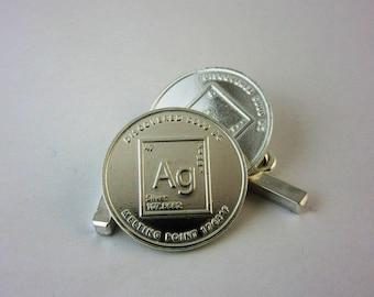 Fine Silver Coin Cufflinks ~ AG 1/10th oz ~ Vintage Antique Jewelry Unique Handmade Men Women Wedding Groom Birthday Gift