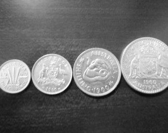 Australian Pre-Decimal Coin Set ~ 1956, 1957, 1958, 1959 1960, 1961, 1962, 1963, Birthday Anniversary for Him Father Wedding