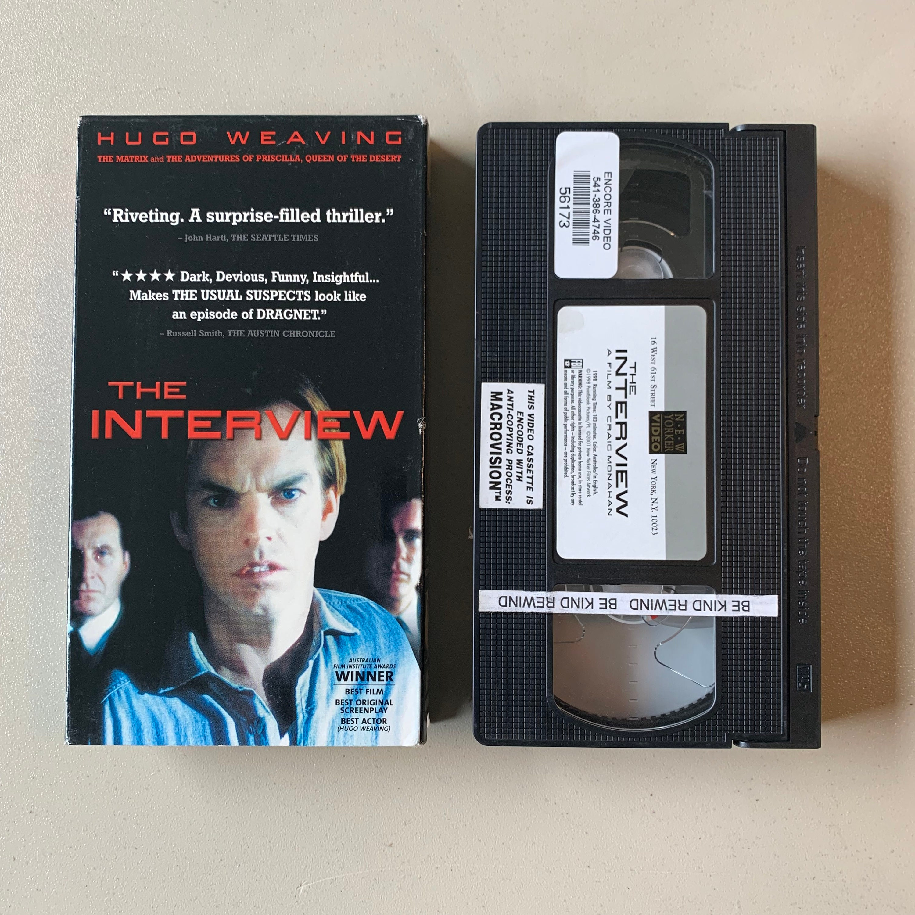 The Interview - VHS Tape - Drama Thriller - Hugo Weaving