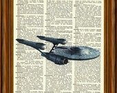 Starship Enterprise Star Trek Upcycled Dictionary Art Print Poster Quote