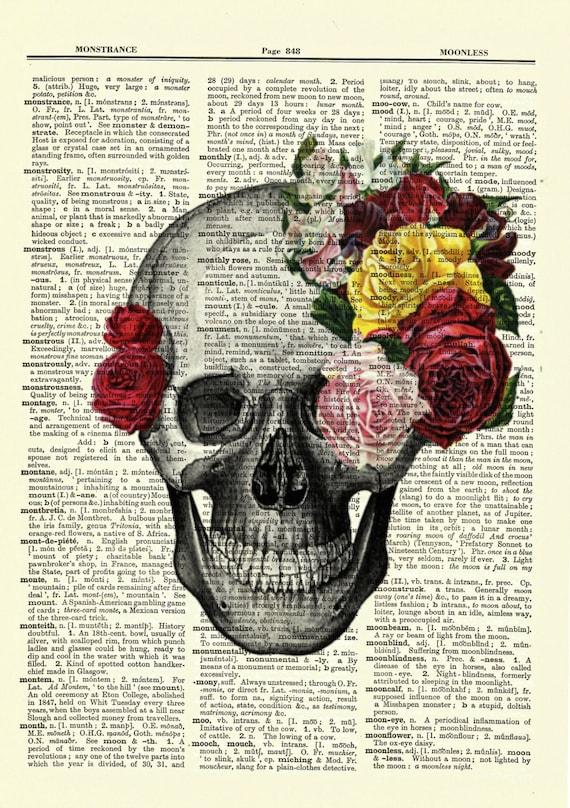 Cráneo Pared Arte Vintage Imagen de Impresión de página de Diccionario corona real Esqueleto Cabeza