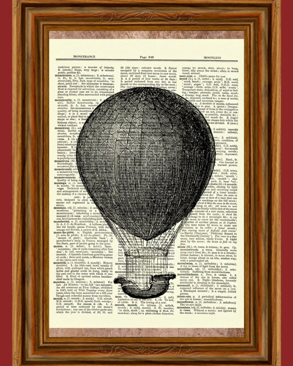 Antique Book page Art Print Hot Air Balloon 13  Upcycled Dictionary Wall Art