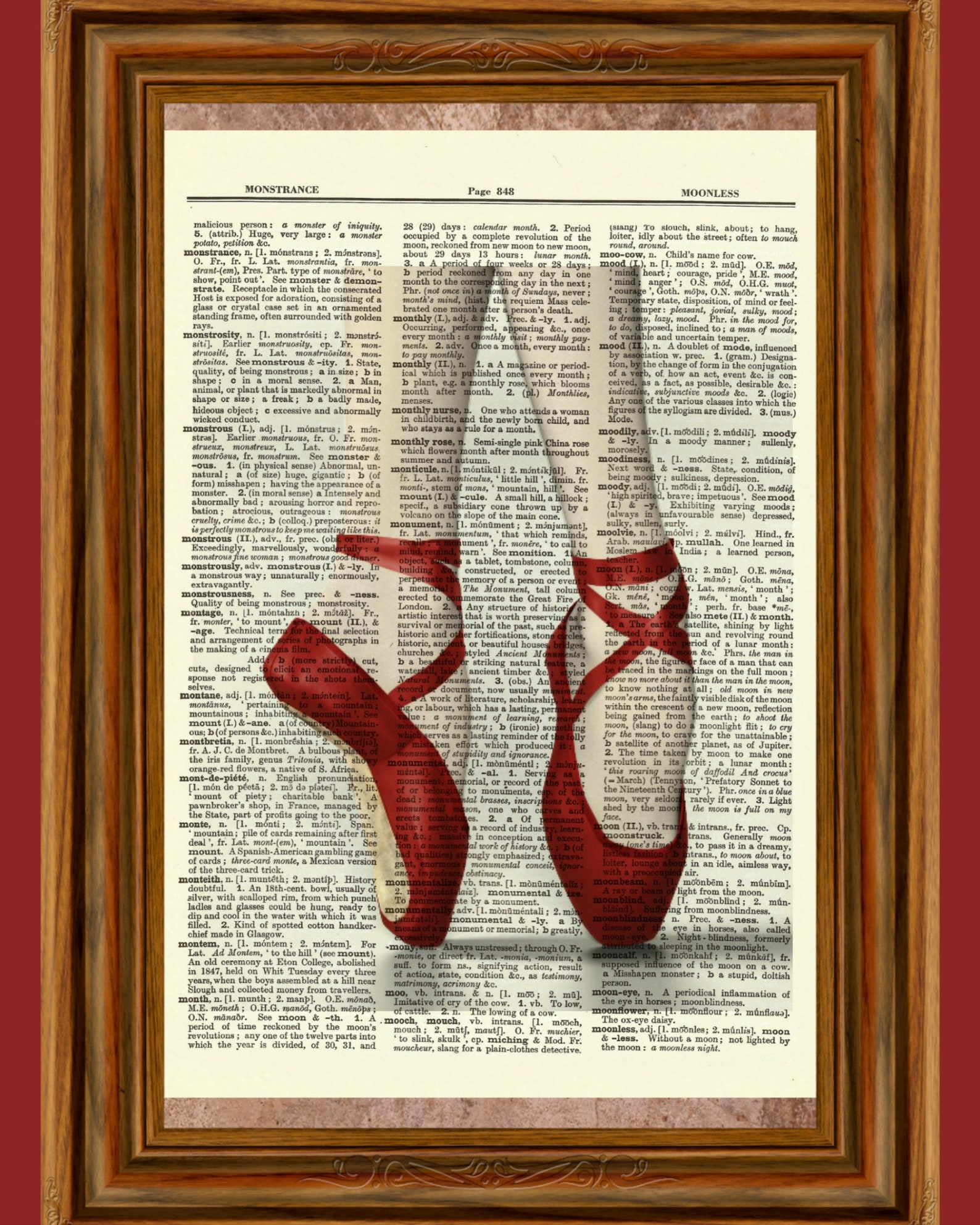 red ballet slippers upcycled dictionary art print poster