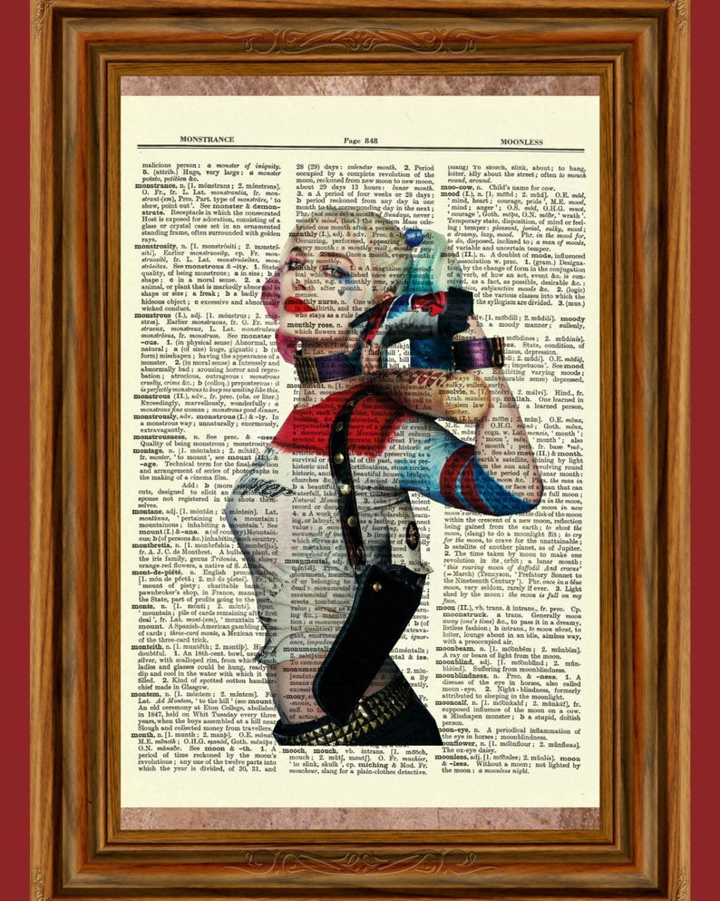 3109c96c4f95a4 Harley Quinn Suicide Squad Upcycled Dictionary Art Print