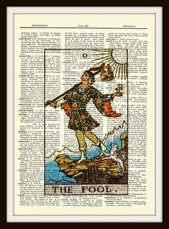 Carta De Tarot El Loco Major Arcana Upcycled Diccionario Vintage Impresion Del Arte Poster