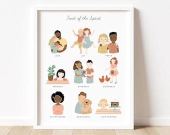 Fruit of the Spirit Artwork Poster| Calming Corner, Montessori, Bible Jesus Christian Kids, Nursery, Church Poster| Download Printable Art