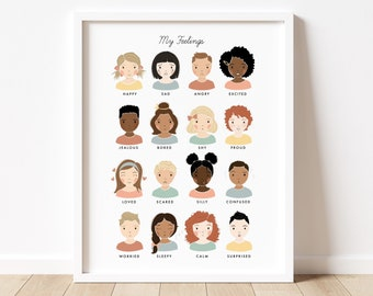 My Feelings Chart Illustration Artwork Poster| Calming Corner, Montessori, Education, Nursery, Classroom Decor | Download Printable Art |