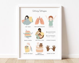 Calming Techniques Chart Illustration Poster| Calming Corner, Montessori, Education, Nursery, Classroom Poster| Download Printable Art |