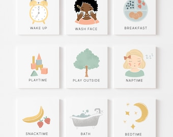 Daily Routine Cards & Chart, Toddler Daily Rhythm, Visual Schedule For Kids | Chore Chart Checklist, Download Printable Art | Montessori