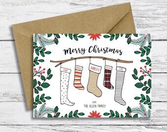 Custom Christmas Card Digital File | Stockings Theme | Family Holiday Christmas Card | Personalized