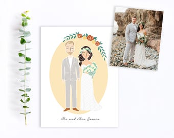 Custom Wedding Couple Portrait Illustration | Engagement, Announcement, Wedding Invitation, Save The Date, Gift Idea or Thank You's