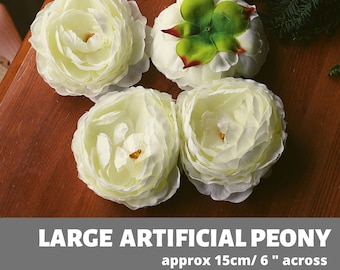 """Very Large Peony, 6"""" Artificial Flower, Artificial Silk Peony,Hair Accessories Big Peonies Wedding Deoration, Floral Crown Cream White Ivory"""