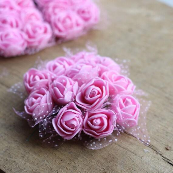 Artificial flower pink mini bouquet miniature roses foam etsy image 0 mightylinksfo