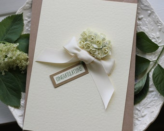 Special Handmade Wedding Card, Ivory and Cream Personalised Card for Bride and Groom