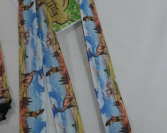 Dinosaur lanyard breakaway 2 sizes keys whistle ID badgeribbon kids t rex wild