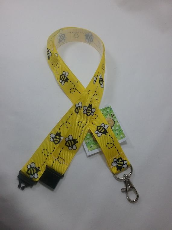 WHITE BEE ribbon lanyard safety breakaway ID badge holder bee lover teacher gift