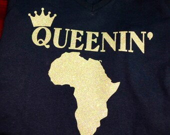 3e5fa3968b9c9 Queenin Melanin Queen Africa Logo Tshirt Crown Royalty