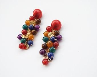 Vintage Cluster Earrings, Post, Colorful Earrings, Statement Earrings, Retro Earrings, Berries Earrings, 80s Vintage Post Earrings