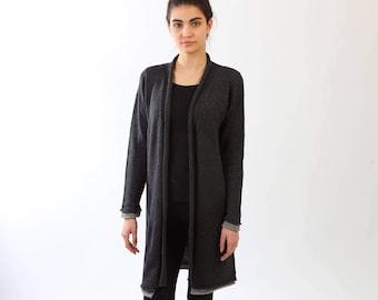 Cashmere cardigan, long knitted jacket, Loose fit cardigan, Knitted cashmere cardigan, Knitted jacket, Grey cardigan, Knitted merino coat,