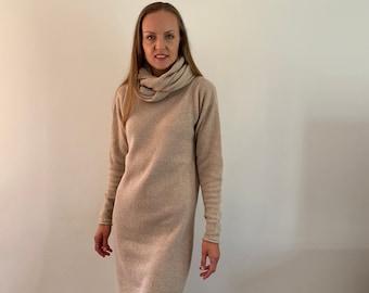 Cashmere merino dress, pullover dress, merino dress, knee-lenght dress, knitted tunica, winter dress, classic dress, knitted jumper dress