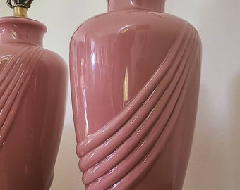 Two Pairs Vintage Glass Art Deco Cabs Dangles Ruby and  Rose Pink Absolutely Ravishing