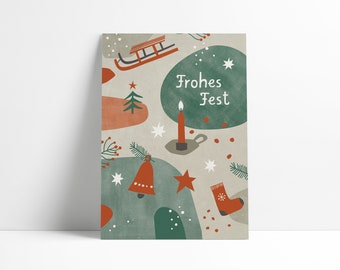 Postcard »Merry Christmas« red/green