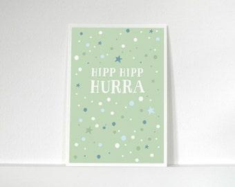 Postcard» Hipp Hipp hurray «/ / green».
