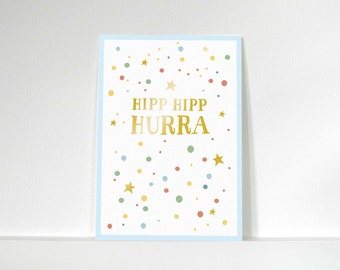 Postcard» Hipp Hipp hurray «/ / stained / gold».
