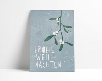 Postcard »Mistletoe« light blue
